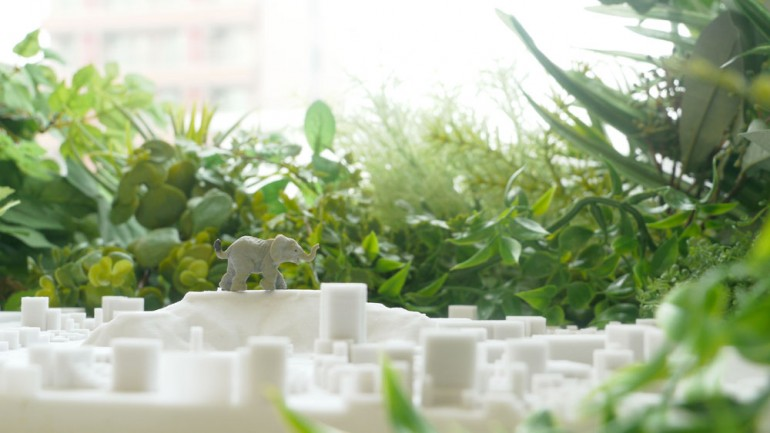 3D print city and view from the window.